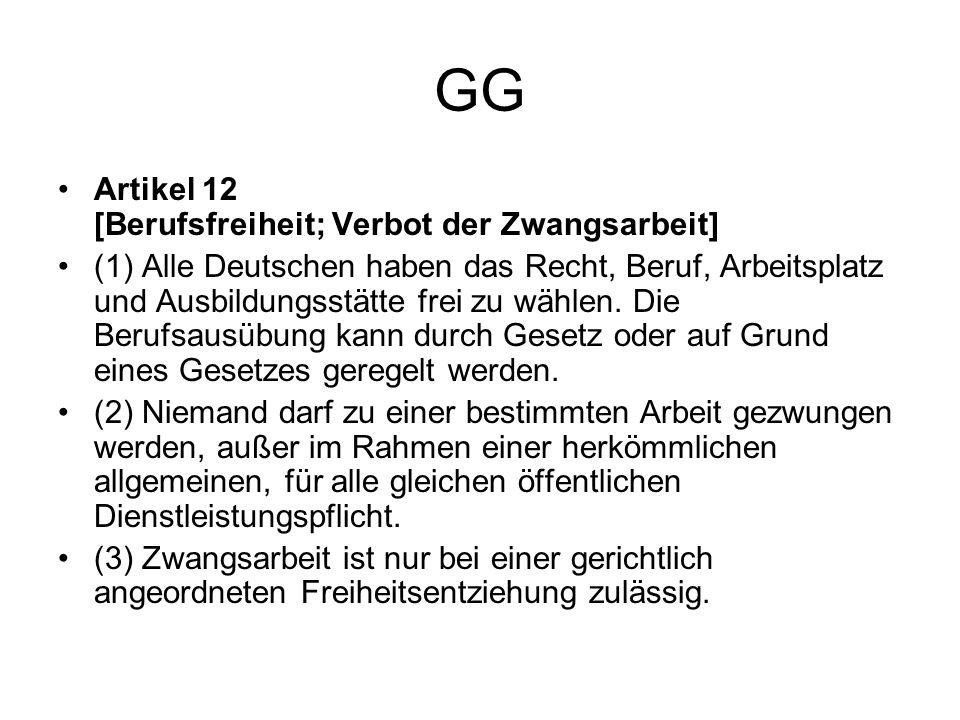 GG Artikel 12 [Berufsfreiheit; Verbot der Zwangsarbeit]